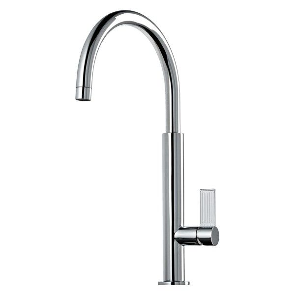 Oxygene Gooseneck Kitchen Mixer - Brushed Nickel Finish