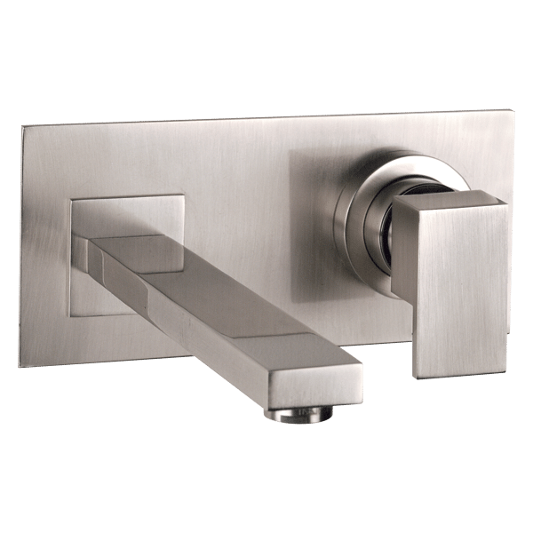 Rettangolo Wall Basin Mixer With Spout - Brushed Nickel Finish