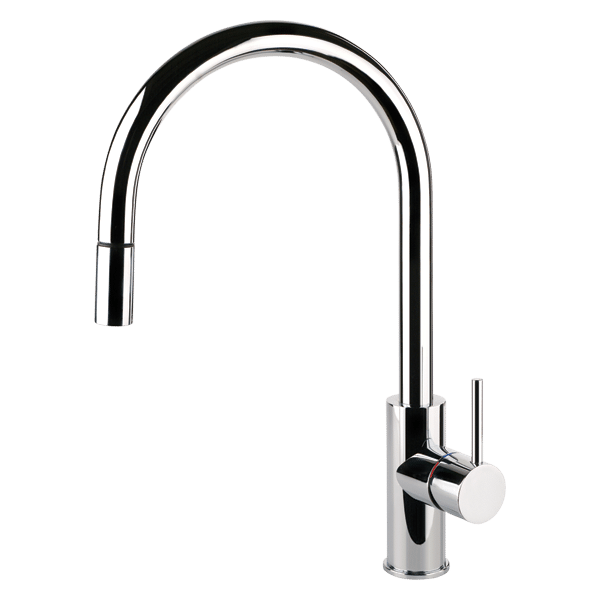 Oxygene Gooseneck Sink Mixer With Pull-Out - Brushed Nickel Finish