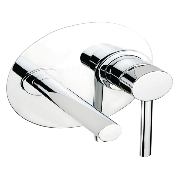 Ovale Wall Mixer With Spout - Brushed Nickel Finish