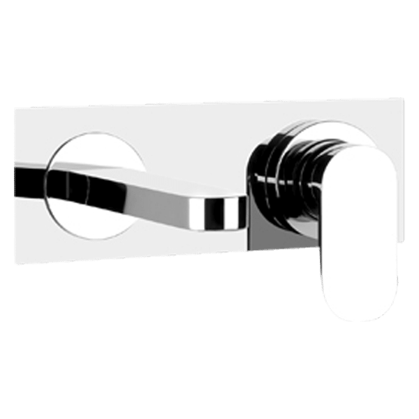 Via Bagutta Wall Spout and Mixer on Plate - Brushed Nickel Finish