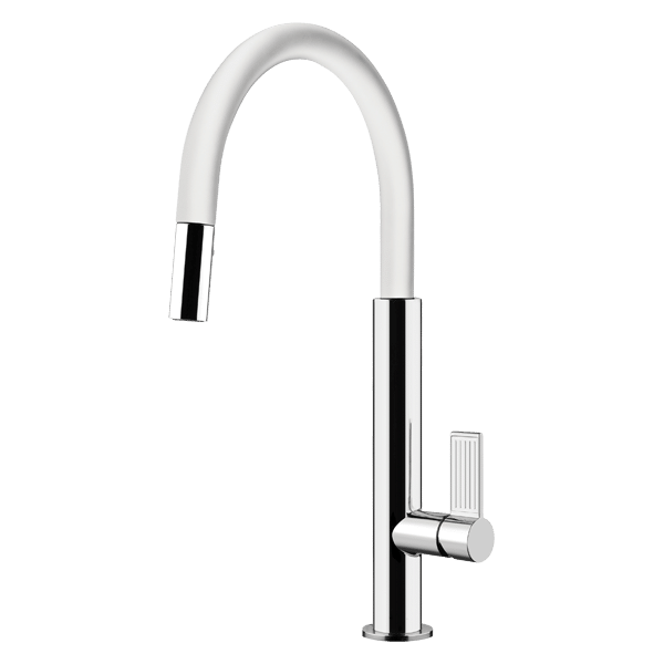 Oxygene Pull Out Dual Function Spray Kitchen Mixer - White Finish