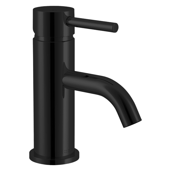 Lucia Basin Mixer with Curved Spout - Black Finish