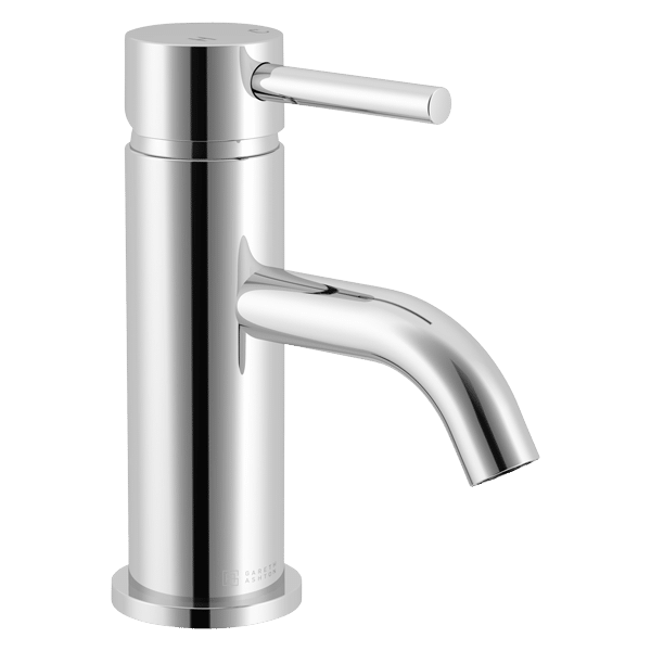 Lucia Basin Mixer with Curved Spout - Chrome Finish
