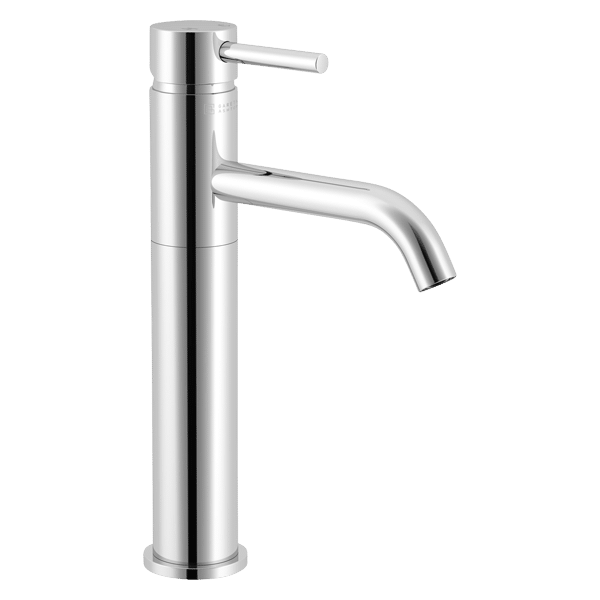 Lucia High Basin Mixer with Curved Spout - Chrome Finish