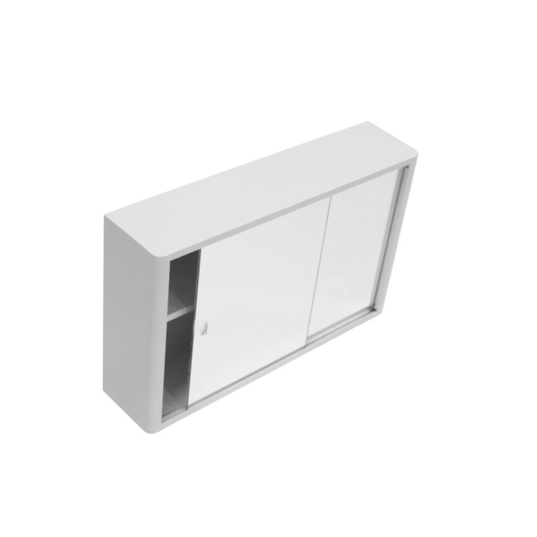 bathroom cabinet white with 2 sliding mirrors 750x450