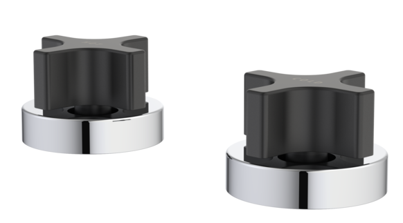 Myriad Cross Basin Top Assemblies - Circle Flange Black Handles