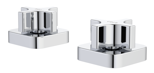 Myriad Cross Basin Top Assemblies - Square Flange Black Handles