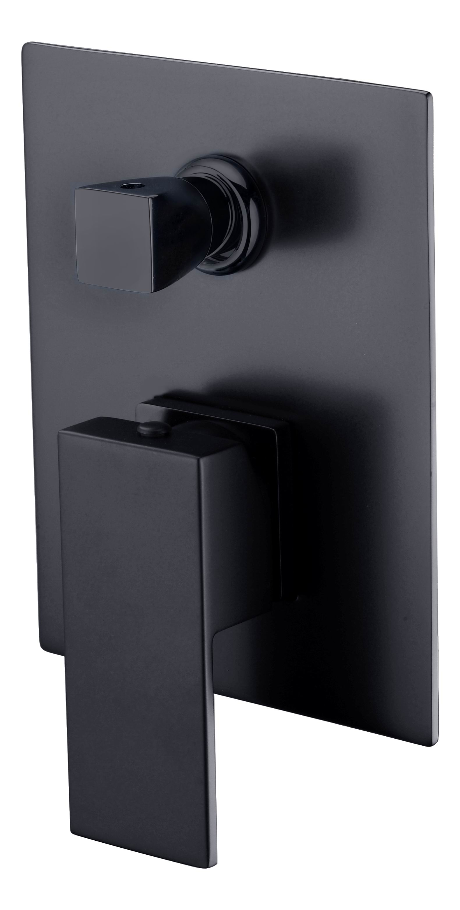 Linea Square Bathroom Wall Bath/Shower Mixer With Diverter Black