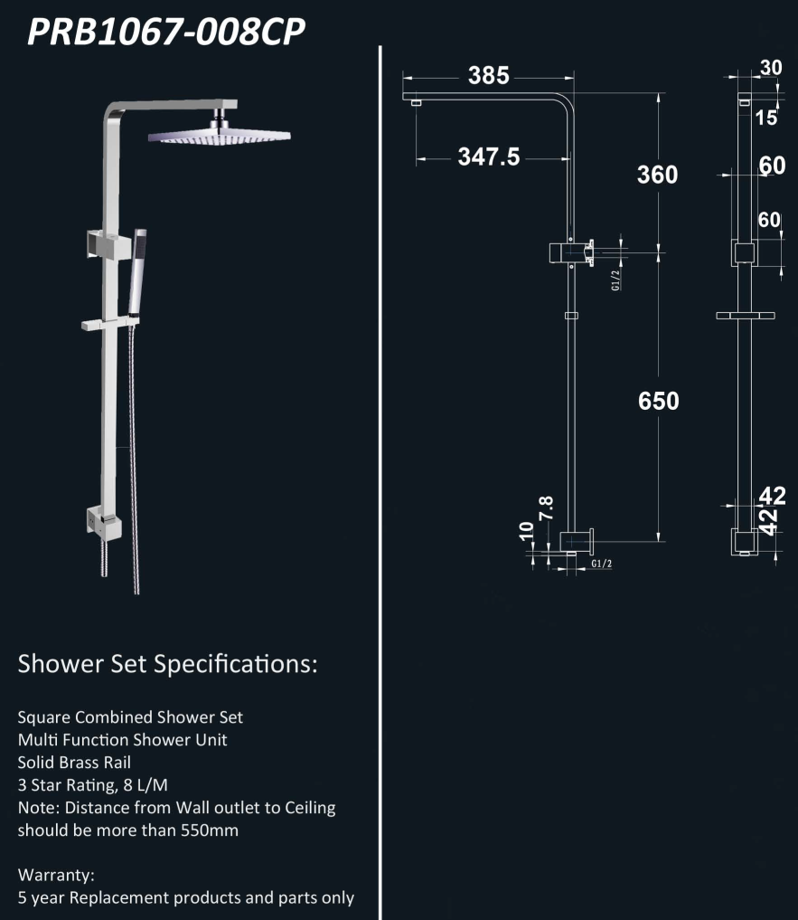 Rossto PRB Bathroom Wall Square Combined Shower Set Chrome