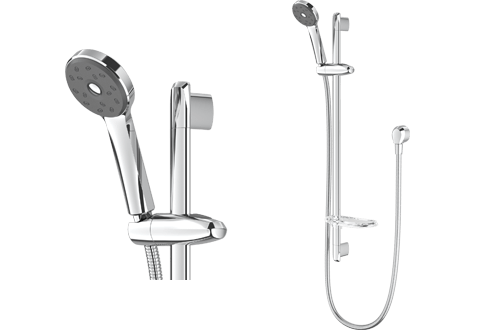 Methven Futura Bathroom Shower Head Rail Dual Spray Adjustable Height Chrome