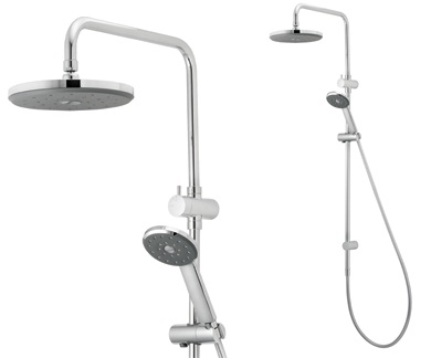 Methven Kiri Bathroom Wels Exposure Shower Head Wall Rail Round 216mm Chrome