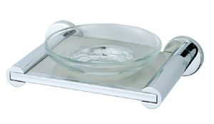 OS Glass Wall Soap Dish With Chrome Plate Bathroom Accessories