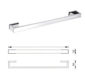 veneto square wall towel rail chrome 750mm bathroom accessories