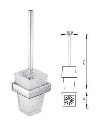 Veneto Sunny Square Toilet Brush And Glass Holder Chrome
