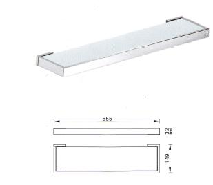 Veneto Bathroom Square Wall Glass Shelf Chrome Finish