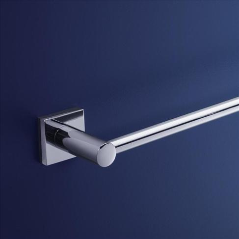 Dorf Enix Square Wall Single Bath Towel Rail Chrome - 600mm