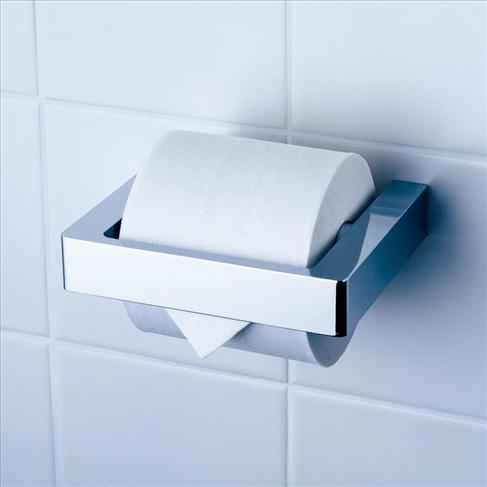 Dorf Motif Bathroom Wall Toilet Paper Roll Holder Square Chrome