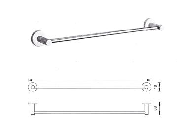 Veneto Sunny Wall Towel Rail Bar - 648mm Chrome Finish
