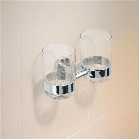 Caroma Cosmo Bathroom Wall Metal Double Glass Tumbler Holder