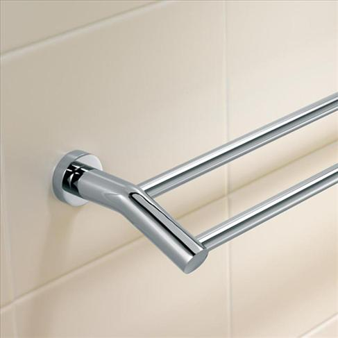 Caroma Cosmo Bathroom Wall Metal Double Towel Rail Holder - 900mm