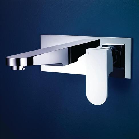 Dorf Arc Bathroom Wall Basin Mixer Wels Chrome Square