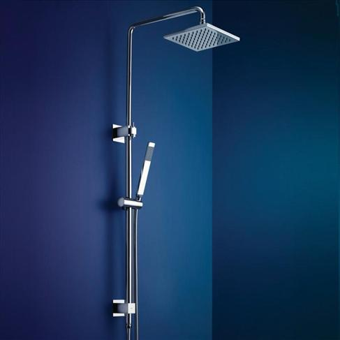 Dorf Arc Bathroom Wall Shower Set Rail With Wels Overhead Swivel Square Chrome