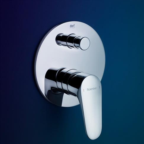 Dorf Flickmixer Plus Wall Bath / Shower Mixer With Diverter Chrome