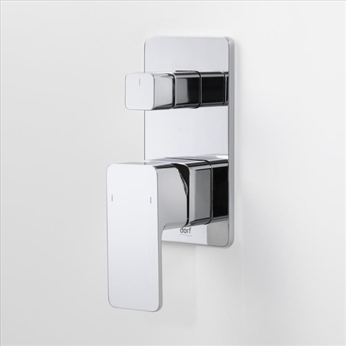 Dorf Epic Bathroom Wall Bath Shower Mixer With Diverter Chrome Square