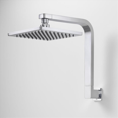 Dorf Epic Fixed Wall Upswept Shower Head And Arm Chrome Square