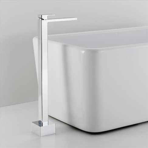 Dorf Epic Bathroom Floor Freestanding Bath Filler Chrome Square