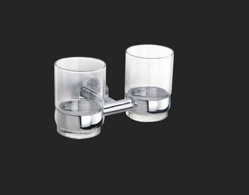 Rossto Aurora Double Glass Round Tumbler Holder Bathroom Accessories