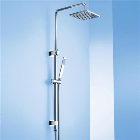 Caroma Track Bathroom Wels Wall Rail Shower With Overhead Chrome Square