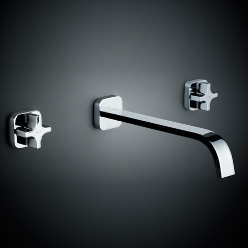 Dorf Myriad Cross Bathroom Vanity Bath Set - Square Flange Chrome Handles