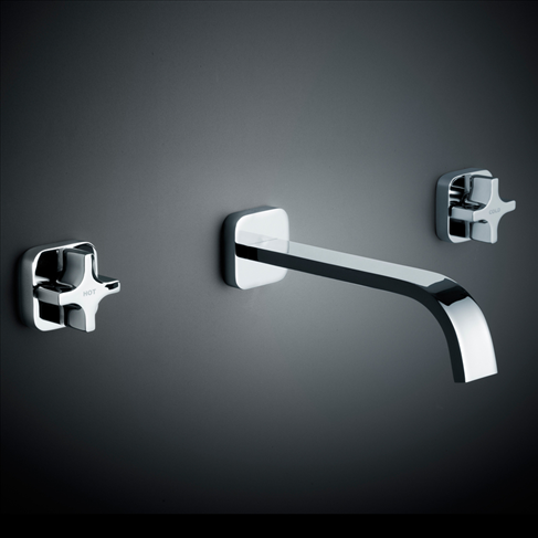 Dorf Myriad Cross Bathroom Vanity Wall Basin Set - Square Flange Chrome