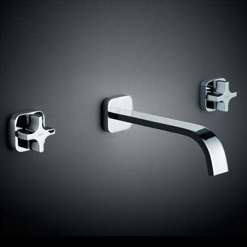 Dorf Myriad Cross Bathroom Vanity Wall Basin Set - Square Flange Black - White Handles