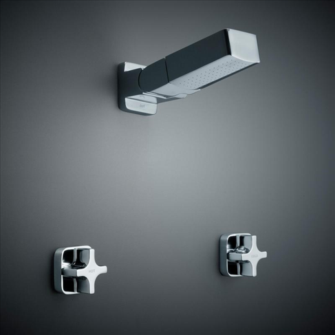 Dorf Myriad Cross Bathroom Vanity Shower Set - Square Flange Chrome