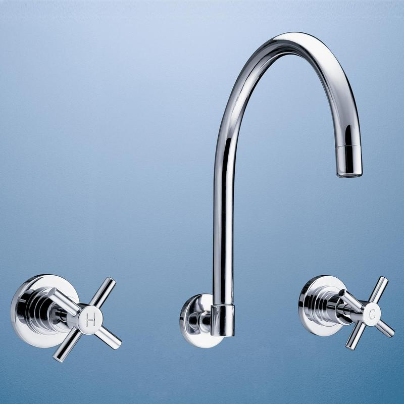 Caroma Metro Wall Kitchen Laundry Wels Sink Tapware Set Chrome