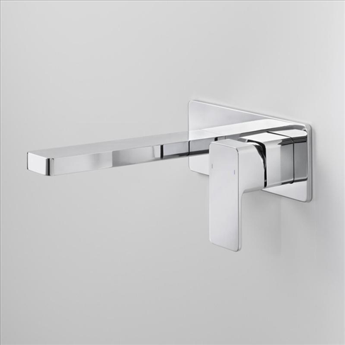 Dorf Epic Bathroom Platemount Wall Bath Mixer -240mm Chrome Square