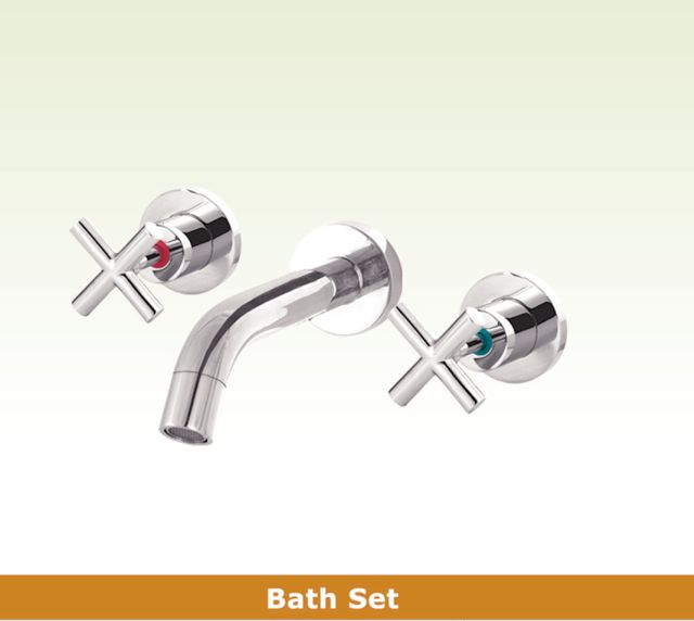 OS OSR-GWEN Bathroom Wall Bath 3 Piece Tapware Set Chrome