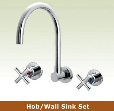 OS OSR-GWEN Kitchen Laundry Wall Sink 3 Piece Tapware Set