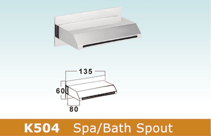 OS III Rectangular Bathroom Wall Bath Spout Chrome