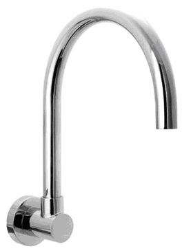 OS Kitchen Laundry Bathroom Round Gooseneck Wall Spout Chrome