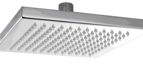 OS Square Bathroom Shower Head Wels Chrome Finish - 200mm