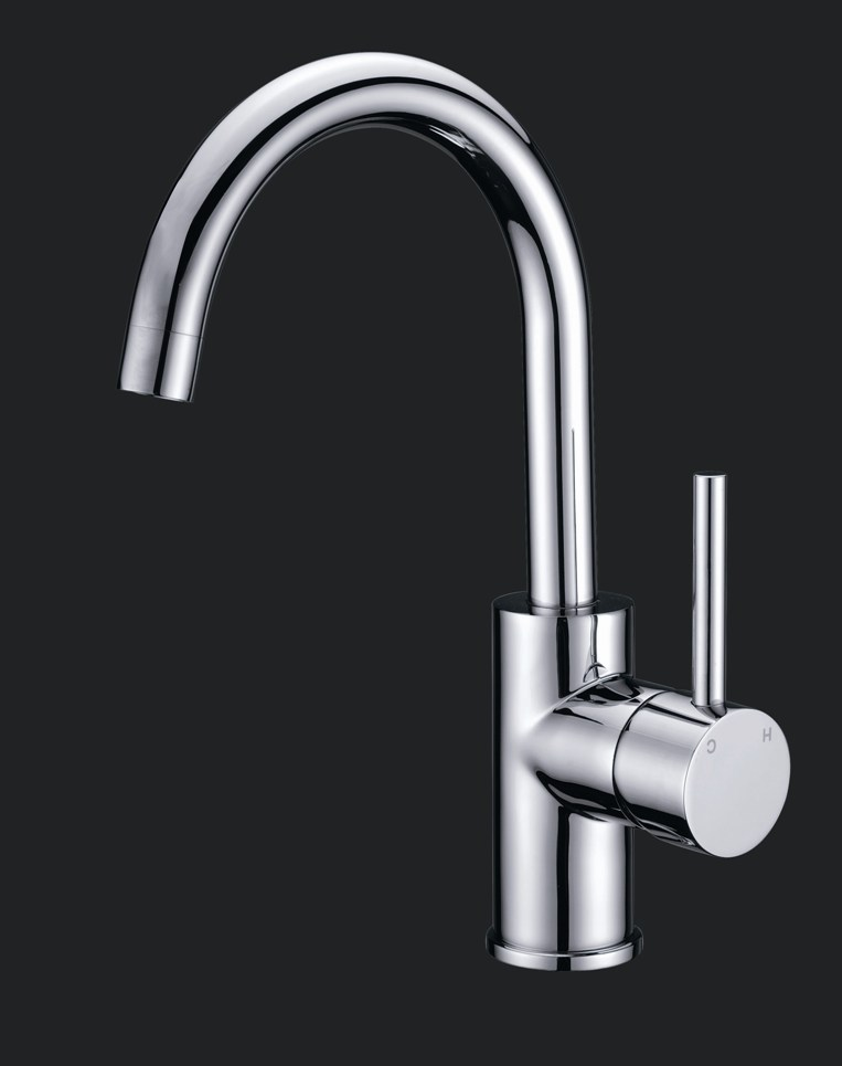 Shardy Round Gooseneck Bathroom Basin Mixer Wels Tap Chrome
