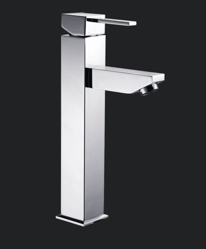Dolce Square Tall Bathroom Basin Wels Mixer Tap Faucet Chrome