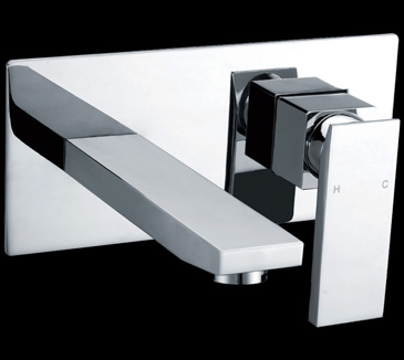 Rossto Square Bathroom Wall Bath Mixer With Spout Chrome