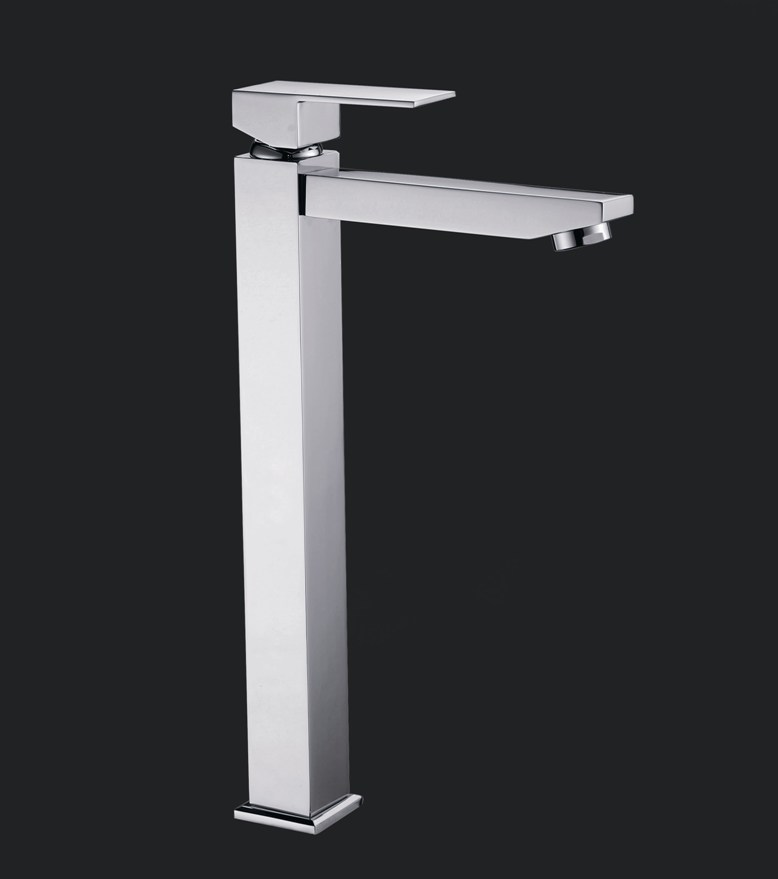 Linea Bathroom Square Tall Basin Mixer Wels Tap Faucet Chrome