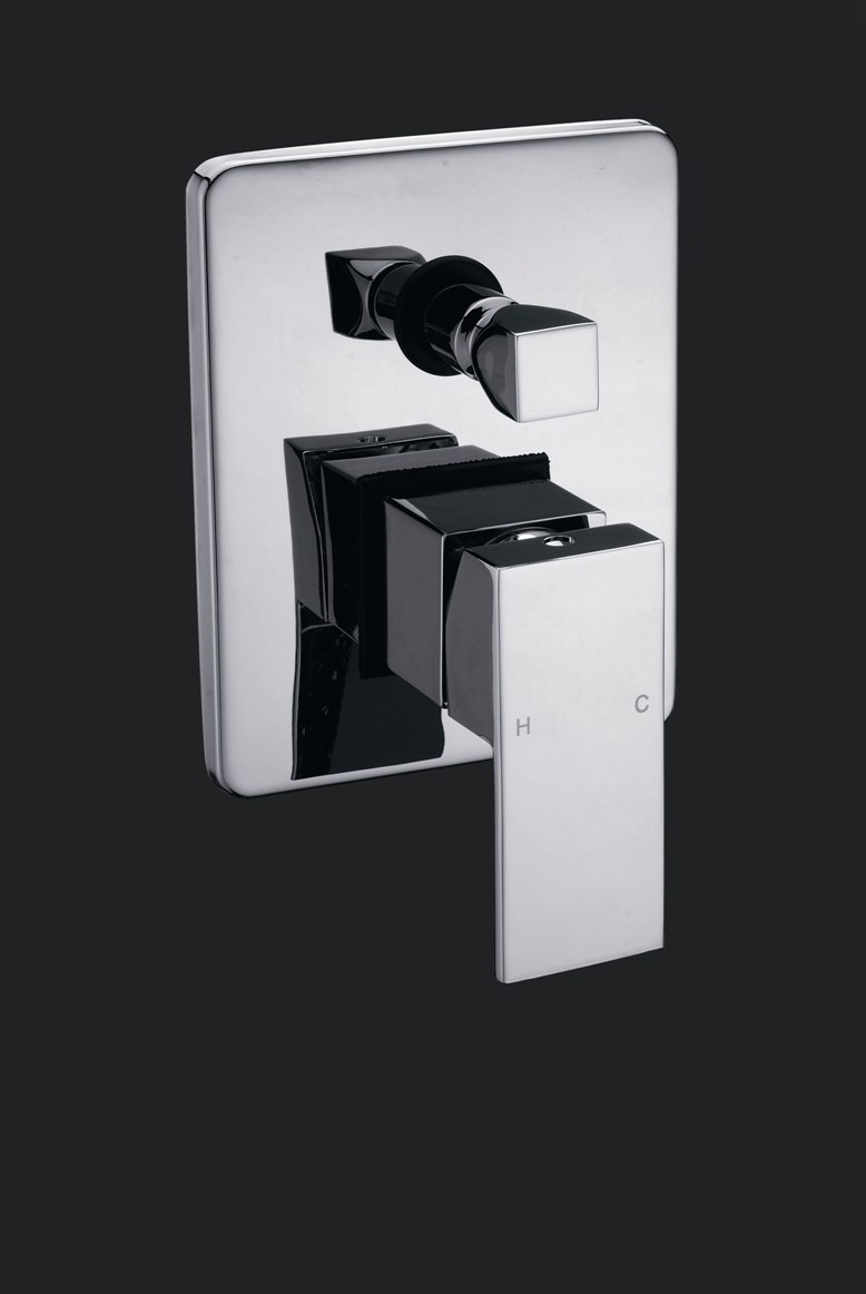 Linea Square Bathroom Wall Bath/Shower Mixer With Diverter