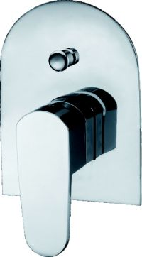 OS Bathroom Wall Round Shower Bath/Mixer With Diverter Chrome